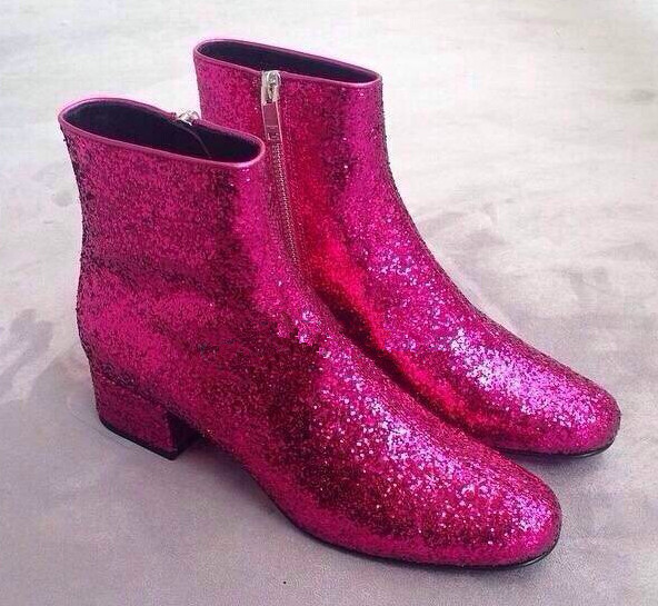 Rose/silver bling sequined ankle boots side zipper 4CM square mid heel spring autumn short boots size 35-42