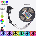 5M 5050 RGB LED Strip Diode Tape light DC12V SMD 30Leds/M wateproof With RGB LED Smart WiFi Controller AC Power Supply Full Kit