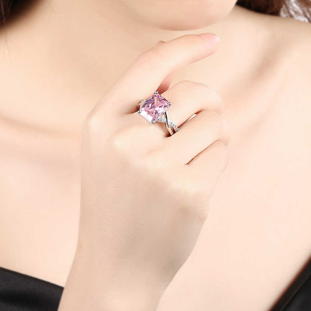 แฟชั่นแหวนนิ้วเครื่องประดับสีชมพูหินขนาดใหญ่ตารางตัดแหวนขนาด6,7, 8,9สำหรับผู้หญิงทองคำขาวสีเครื่องประดับanillos