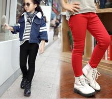 Children's Leggings Solid Color Casual All-match Pants 2017 Winter Plus Velvet Thickening Warm Render Pants Candy Color EX80