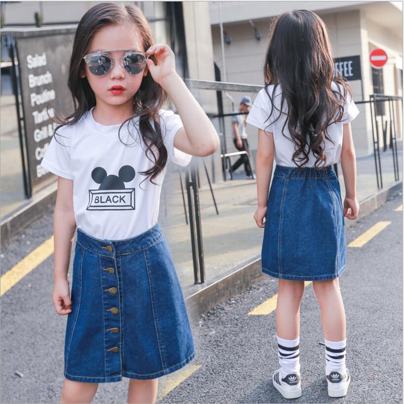 Girls Denim Skirts Sweet Korea Style Children Kids Clothes
