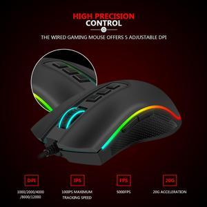 Image 4 - Redragon M711 FPS COBRA Gaming Mouse Pixart 3360 optyczny czujnik do gier 16.8 milionów Chroma kolor RGB podświetlany przewodowy 24000 DPI FPS