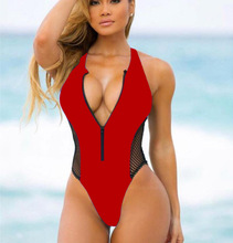 Sexy Zipper Bodysuits One-pieces Swimsuit Mesh Swimwear Red Hollow Bikini Women Push Up Beachwear Monokini Suit Bathing