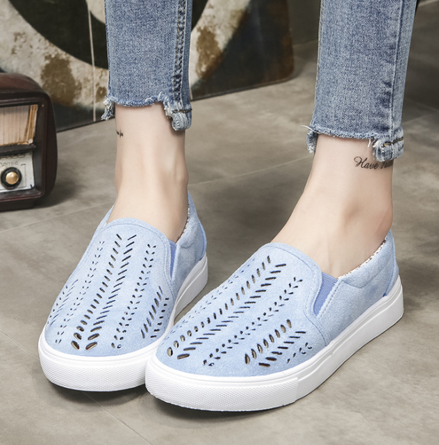 LFFZ Women Cut-outs Elastic Band Vulcanized Shoes Female Flock Slip-on Shallow Breathable Flat Casual Shoes Plus Size ZLL63