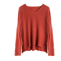 100%hand made wool cashmere blend knit women fashion Vneck loose open hem pullover sweater solid color S 2XL