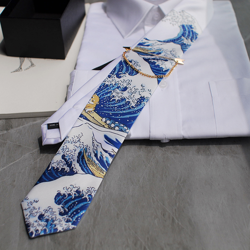 Free Shipping Men's Male Man Fashion Kanagawa Redesigned Fantasy Series Tie Wedding Hosted Western European Party Gift Necktie
