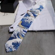 Frete grátis masculino homem moda kanagawa redesenhado fantasia série gravata casamento hospedado ocidental europeu festa presente gravata