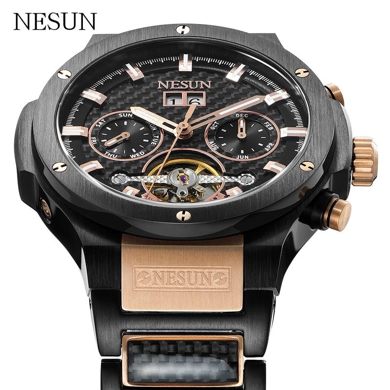 NESUN Sports Watches Men Fashion Sapphire Waterproof Hollow Tourbillon Automatic Mechanical Wristwatches Clock Relogio Masculino