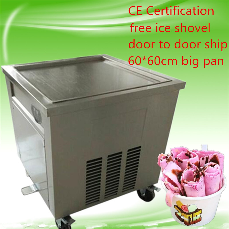 free shipping CE Thai fried ice cream roll machine,60*60cm big pan fried ice roll pan machine,2100w fried ice pan machine