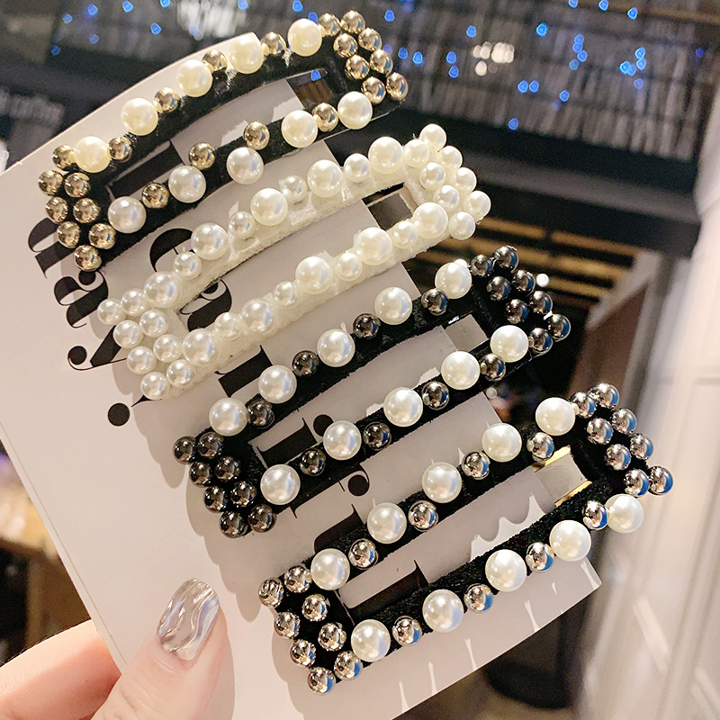 1PC New Ins Vintage Simple Pearl Rectangle Hairpin Women Girls Hair Clip   Headwear   Barrettes Headband Fashion Hair Accessories