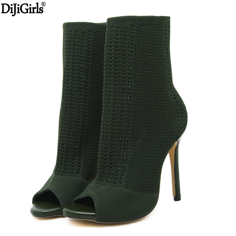 Women's Boots Green Elastic Knit Sock Boots Ladies Open Toe Chunky High Heels Fashion Kardashian Ankle Booties Women Pumps fashion kardashian ankle elastic sock boots chunky high heels stretch women autumn sexy booties pointed toe women pumps botas