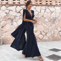 Seamyla 2019 New Ruway Jumpsuits Sexy Women Blue Fringe Celebrity Party Jumpsuits Bodycon Winter Night Club Long Jumpsuit