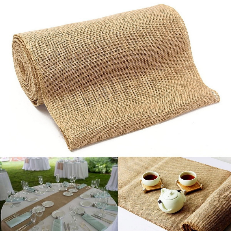 10mx30cm Wedding Party Table Runner Burlap Natural Jute Imitated Linen Rustic Table Decoration Accessories Home Table Cloth
