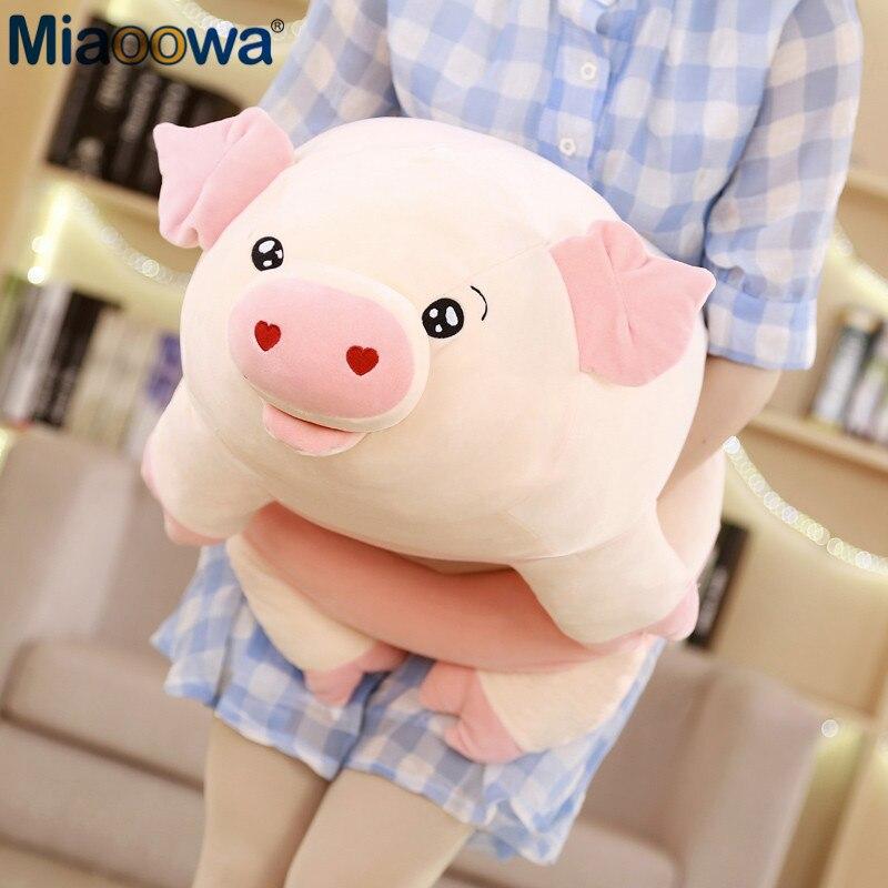 50/60/80 cm lindo cerdo rosado de peluche de juguetes para los niños del zodiaco chino cerdo muñeca suave cerdo gordo. cojín almohada de las niñas de los niños regalos de cumpleaños