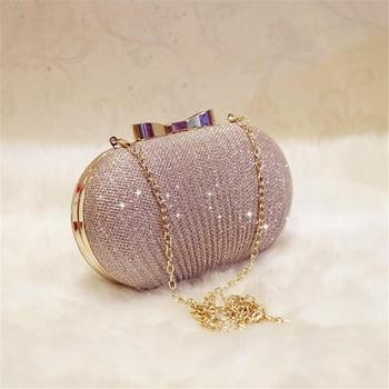 AUAU-oro bolso de mano de noche las mujeres bolsas boda brillante bolsos nupcial metal arco embragues, bolsa de bolso de hombro con cadena