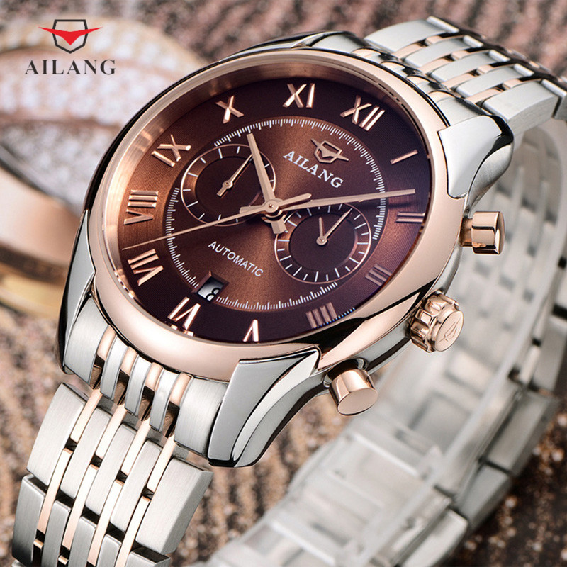 цена на AILANG Fashion Mechanical Watch Men Luxury Brand Water Resistant Wristwatches Fashion Stainless Steel Band Wristwatches A008
