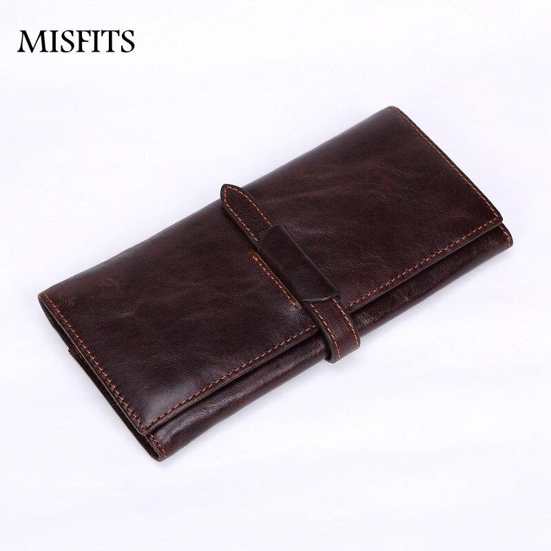 MISFITS Wallet Female Genuine Leather Long Crazy Horse Leather Men Wallets 2017 Clutch Male Purse Business Card Holder TTL214