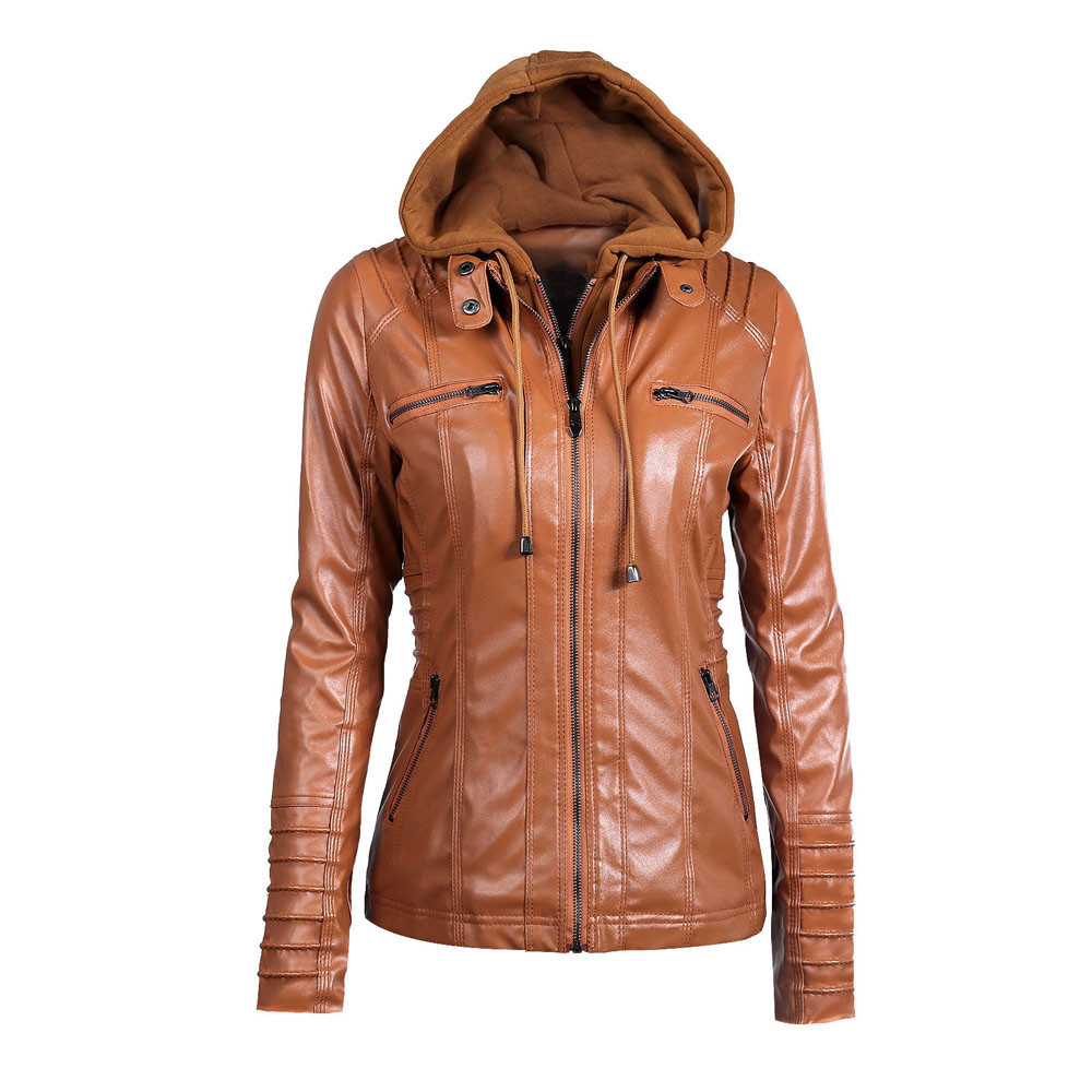 <font><b>7xl</b></font> <font><b>7xl</b></font> New Autumn Winter Jacket Women Nice Casual Jacket Zip Packet Female <font><b>Coats</b></font> Hooded Plus Size Leather Jacket Chaqueta Mujer image