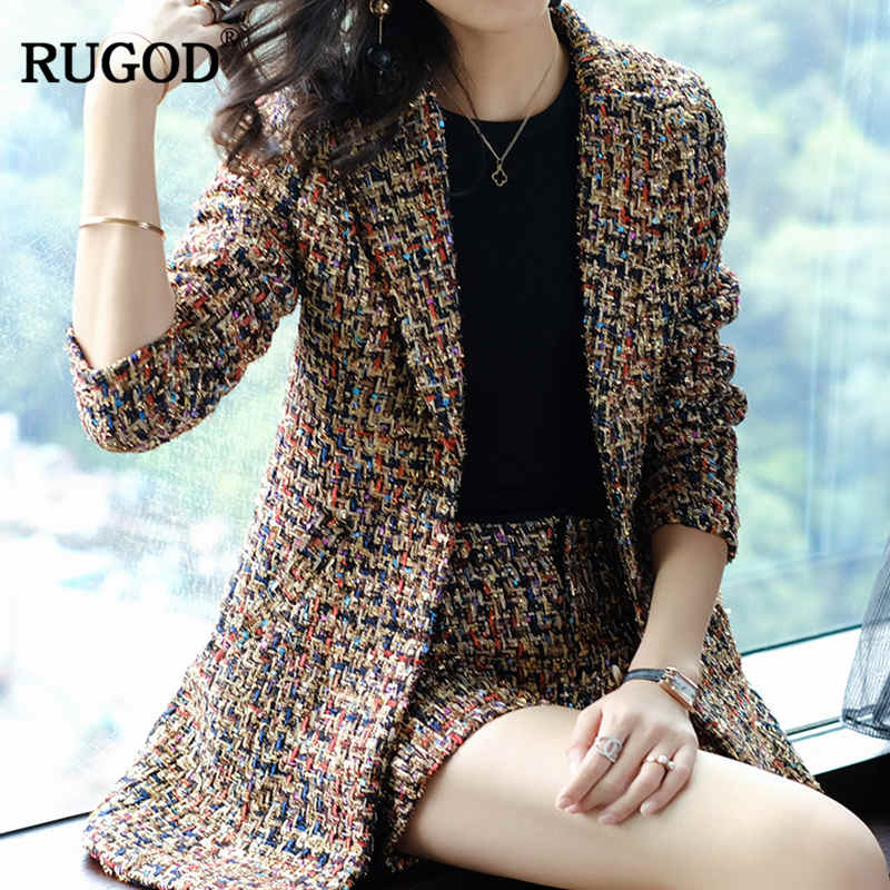 RUGOD Korean Colorful Crochet Shorts Suit Women Fashion 2 Two Pieces Set Casual Long Sleeve Jacket