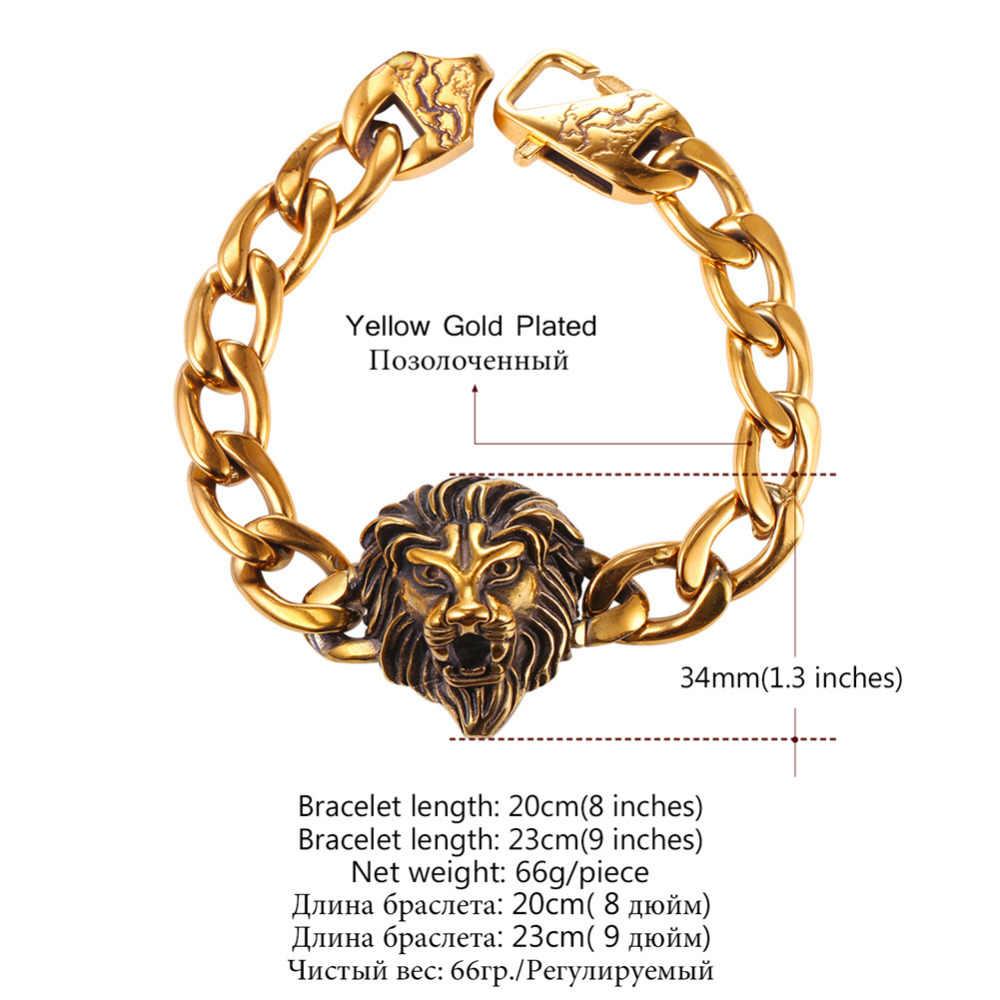 Czarny lew bransoletka dla mężczyzn curb ręka łańcuch złoty kolor ze stali nierdzewnej tygrys głowy chunky komunikat bransoletka hurtownie pozycja