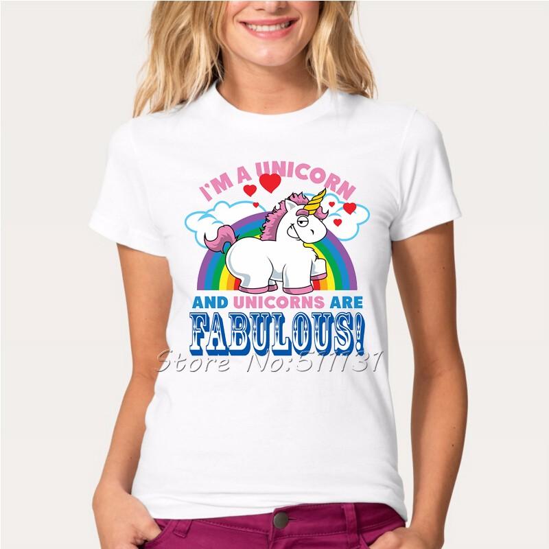HTB1l1BzOFXXXXajXFXXq6xXFXXXS - Newest Funny Unicorn Rainbows T Shirt Womens Fashion