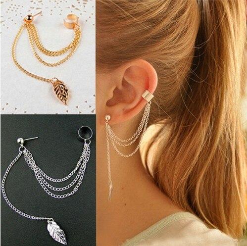 E231 Personality Leaf Tassel Clip Earrings For Women Ear Cuff Bijoux Gold Silver Color Punk Earrings Fashion Jewelry Gift