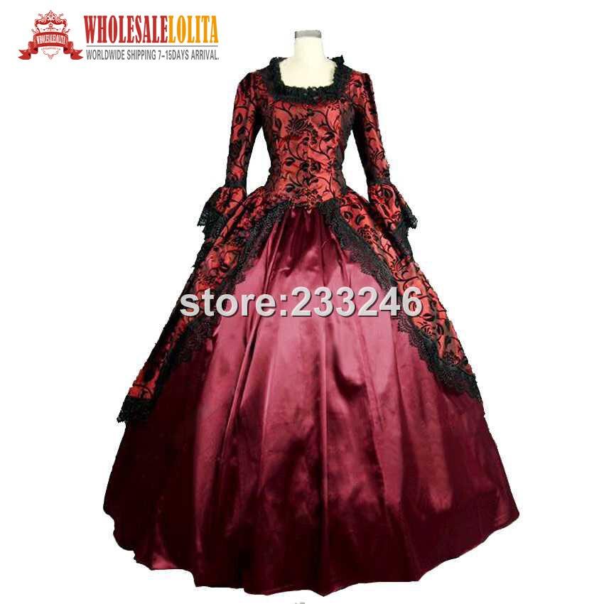 19 Century Period Renaissance Fair Georgian Antique Floral Dress Prom Gown Theater Reenactment Clothing