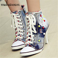 Spring Autumn Women Thin High Heels Lace Up Side Zipper Embroidery Fashion Casual Rivets Denim Shoes Ankle Boots Women Pumps