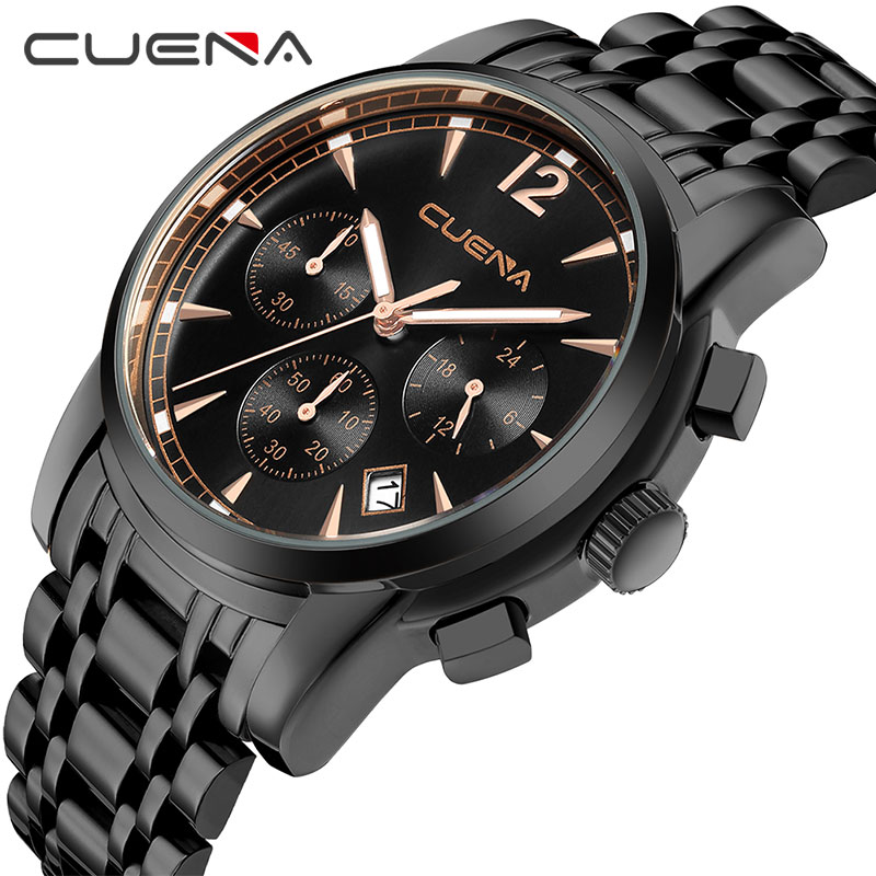 цена CUENA Quartz Watches Men Multifunction Stop Watch Date Luminous Hands Waterproof Stainless Steel Watches Men Fashion Watch 201