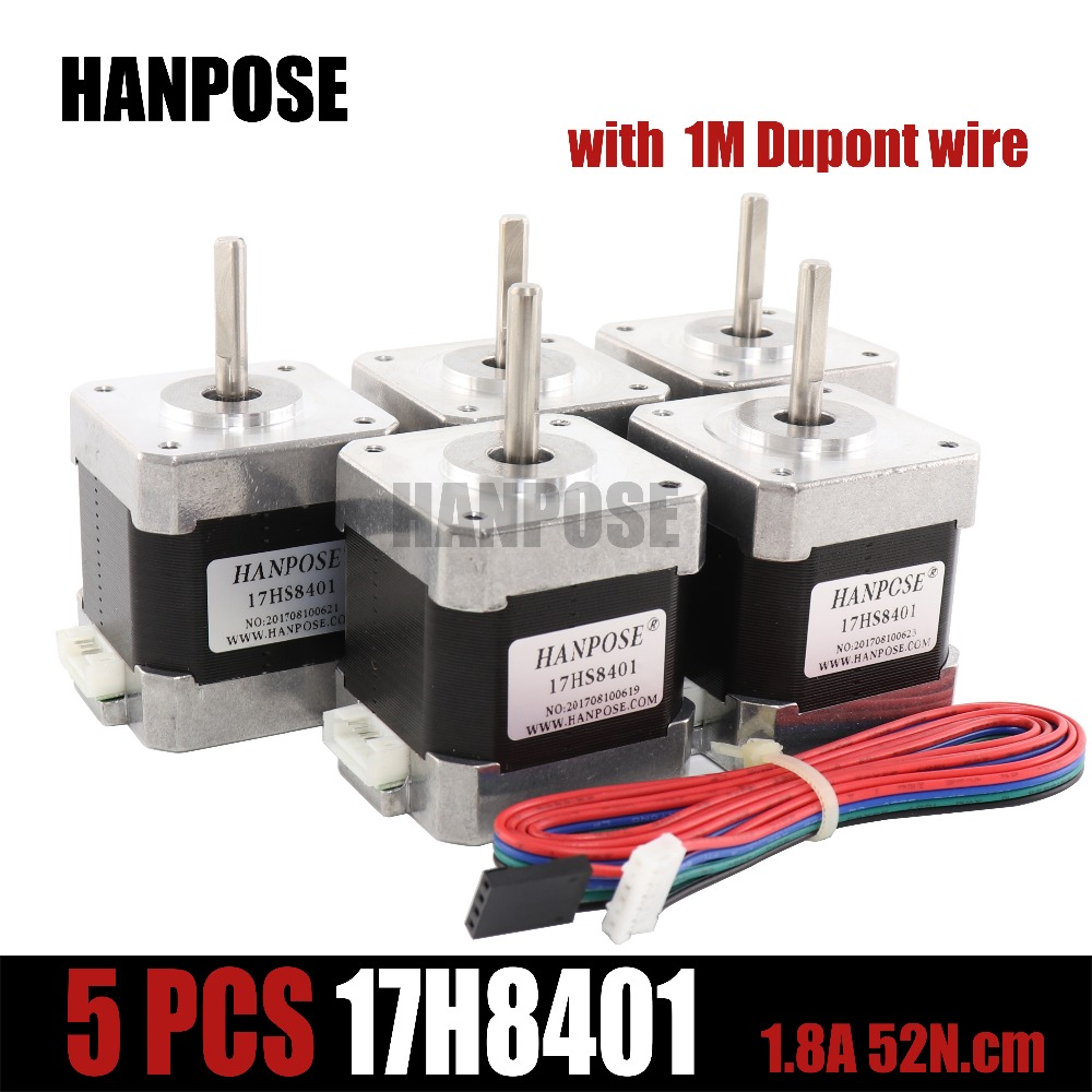 Free shipping 5 PCS step motor 4-lead Nema 17 Stepper Motor 42 motor 17HS8401 1.8A CE CNC Laser and 3D printer 0 9 step degree nema14 round stepper motor with 8 8n cm 12oz in length 20mm ce cnc step motor
