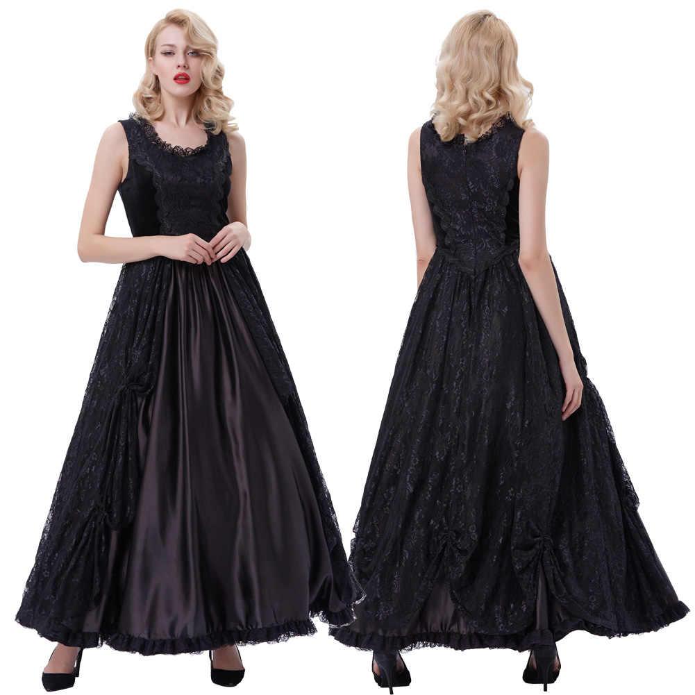 Belle Poque Retro 2019 delle Nuove Donne di Stile Vintage Gothic Abiti Stile Vittoriano Senza Maniche U-Collo Del Merletto e Del Raso maxi Vestito Lungo