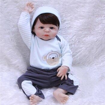 Bebe-Reborn NPK Dolls 57CM Realistic Full Silicone Baby boy reborn toys for children gift brown hair wig BJD doll for kids