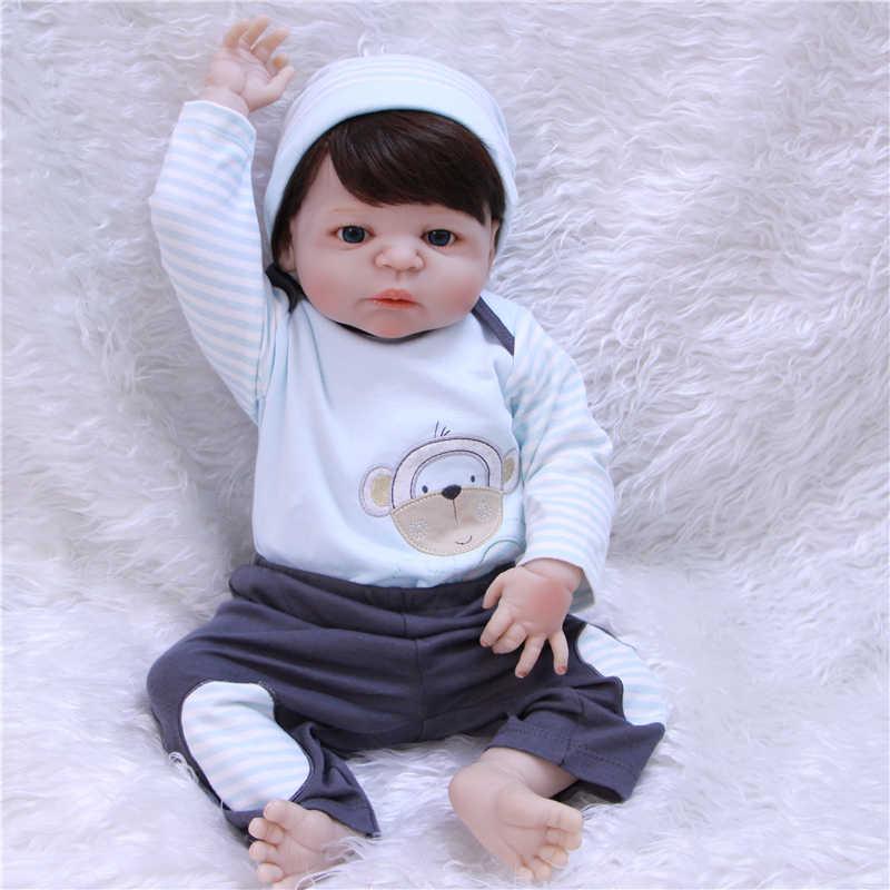 Bebe-Reborn npk Dolls 57 см реалистичный полный Силиконовый младенец мальчик reborn игрушки для детей подарок парик из каштановых волос BJD кукла для детей