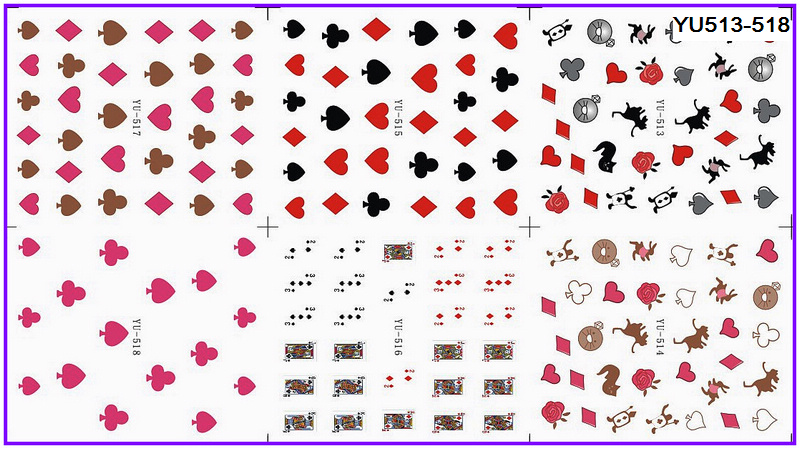 Nails Art & Tools 6 Pack/ Lot Water Decal Nail Art Nail Transfer Sticker Cartoon Poker Heart Spade Yu513-518