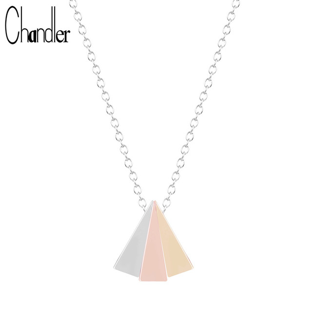 Chandler Gold Silver Plating Rose Gold 3 Colors Triangle Chain Necklace & Pendant For Women Geometric Korean Fashion Accessary