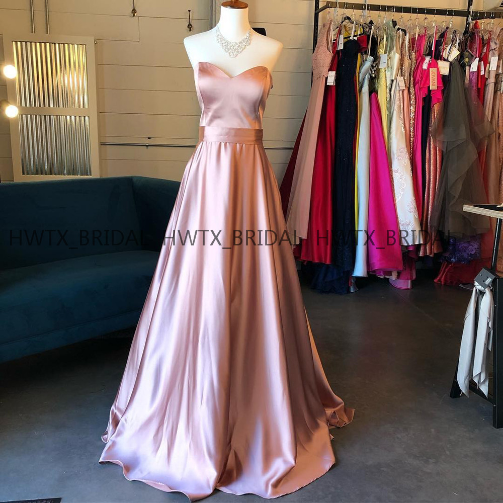Rose Gold Prom Dresses 2019 High Quality A Line Sweetheart Satin Long Floor Length Party Formal Evening Dress Vestidos de fiesta