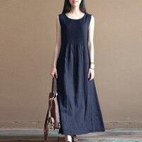 2018 Celmia Women Summer O Neck Sleeveless Pleated Party Beach Baggy Solid Brief Vestido Cotton Linen