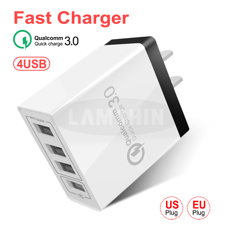 Quick Charger 3.0 USB Charger for Samsung iPhone 7 8 Huawei P20 Tablet QC 3.0 4 Port Plug Fast Wall Charger US EU Plug