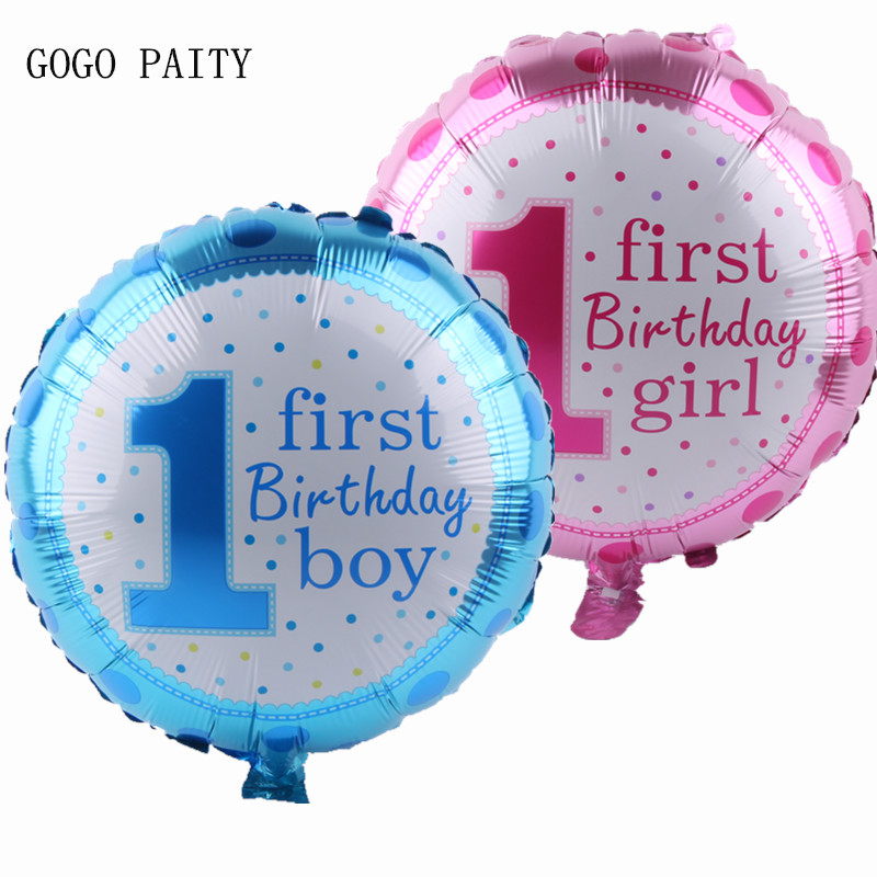 GOGO PAITY  Childrens 1 birthday party, boy, girl, aluminum film, balloon