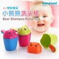 Shamois 2 Copo Urso Banho Do Bebê Dipper Fiador Colher de Bebê Criança Copo Plástico Lavagem Trq0058