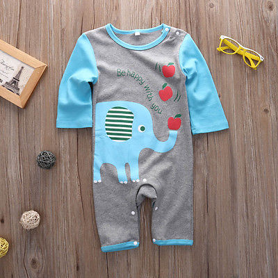 Newborn Baby Boys Girls Long Sleeve playsuit Romper Jumpsuit Animal Clothes Set xmas gift 100% cotton baby boys girls long sleeve romper stripe panda jumpsuit clothes newborn infant baby clothing christmas gift