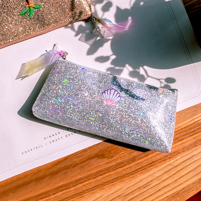 Creative Psychedelic Shell Design Bling Pencil Bag Golden Silver Pureple Red 2017 School Office Supplies