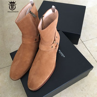 Real Picture Luxury Handmade Classical Wyatt Homme Luxury Slim Fit Real Suede Leather High Top Boots
