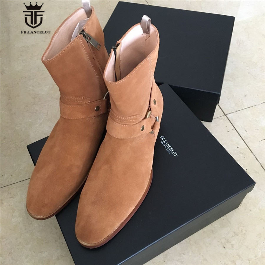 Real Picture Luxury Handmade Classical Wyatt Homme Luxury Slim Fit Real Suede Leather High Top Boots Harness Chelsea Boots real picture luxury handmade classical wyatt homme harness high top chelsea men boots wedge real cow leather suede boots