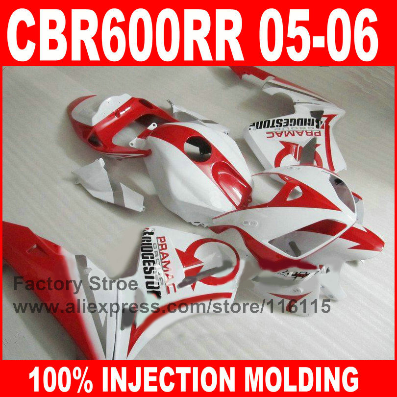 Custom 100% Injection motorcycle fairings for HONDA 2005 2006 CBR 600 RR CBR600RR 05 06 red white PRAMAC motorcycle fairing kit custom injection molding fairings for honda cbr 600 rr 2005 2006 cbr600rr 05 06 black flame in white motorcycle fairing kit
