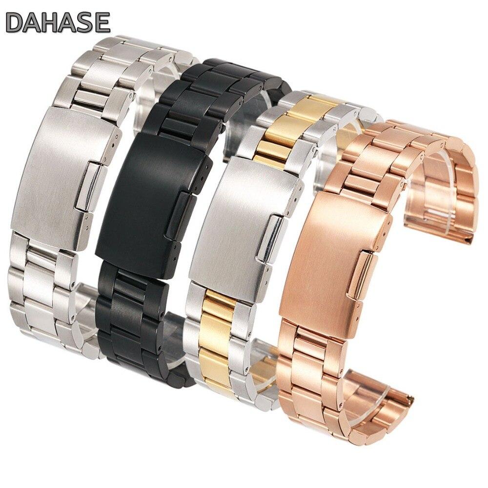 18mm 20mm 22mm 24mm 26mm 28mm 30mm bracelet de montre en acier inoxydable solide classique bracelet en métal bracelet de montre pour montre-bracelet avec broches