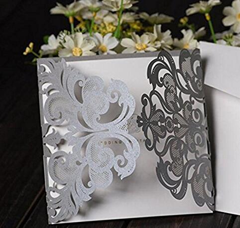 50 Pcs Contoh Mewah Perak Abu Abu Laser Cut Lace Floral Undangan