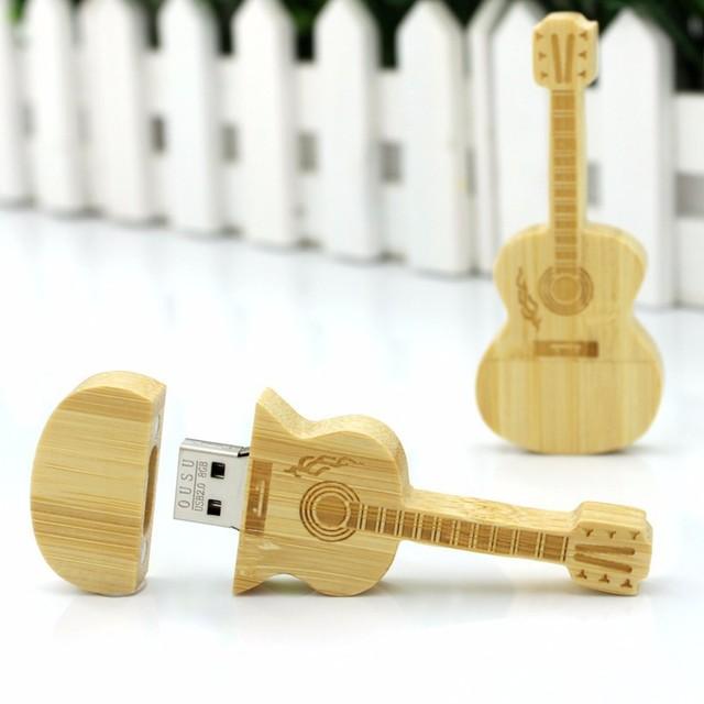 Wooden guitar shaped pen drive