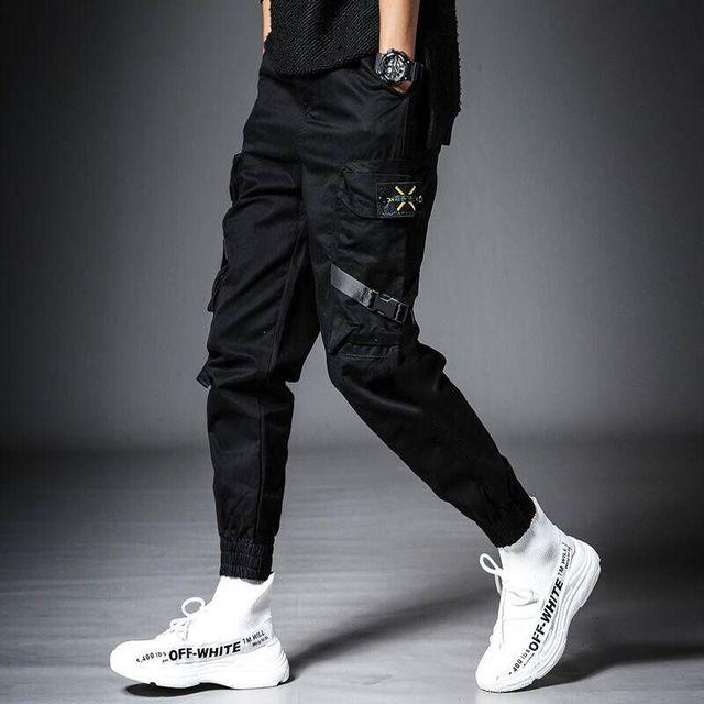 Streetwear Black Harem Pants Men Elastic Waist Punk Pants With Ribbons Casual Slim Jogger Pants Men Hip Hop Trousers 30