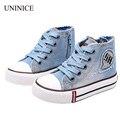 2017 nova chegou tamanho 25-37 crianças casual shoes de lona dos miúdos das sapatilhas dos meninos flats meninas botas denim jeans lado zipper shoes